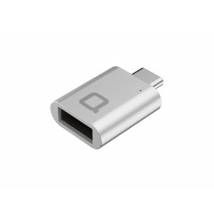 nonda USB-C to USB 3.0 Mini Adapter [World's Smallest] Aluminum Body with Indicator LED for MacBook 12-inch and other Type-C Devices (Silver)