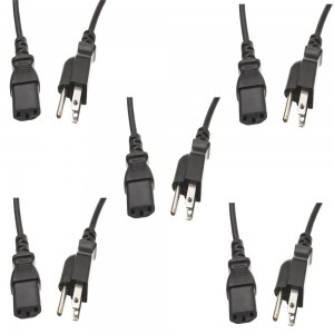 C&E CandE CNE459696 6 feet Universal Power Cord NEMA 5-15P to IEC-320-C13 18AWG Power Cord, 5-Pack