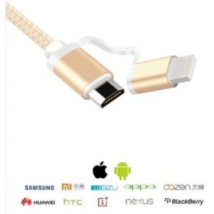 ZXTEK Multi-functional OTG Cable , 2-in-1 a Male + a Female , 2-in-1 Lightning + Micro USB Port for Iphone Ipad Ipod Samsung