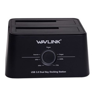 Wavlink USB 3.0 to SATA Dual-Bay Hard Drive Docking Station For 2.5 Inch/3.5 Inch HDD,SSD Support Offline Clone / Backup /UASP Functions [12TB ]-Black