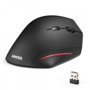 Wireless Mouse, Anker Ergonomic USB 2.4G Wireless Vertical Mouse with 3 Adjustable DPI Levels 800 / 1200 / 1600 and Side Controls - Black