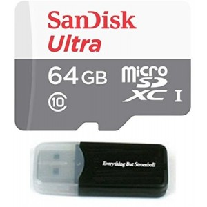 Sandisk Micro SDXC Ultra MicroSD TF Flash Memory Card 64GB 64G Class 10 for Motorola DROID Turbo 2 Phone with Everything But Stromboli Memory Card Reader