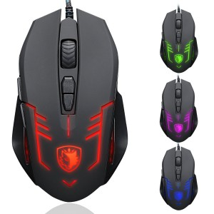 SADES S6 Cataclysm USB PC Gaming Mouse Mice 2500 DPI Omron Micro Switches with 4 Colours LED Lights Braided Cable(Black)
