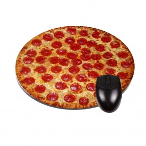 """Rosie Parker Inc. Pepperoni Pizza - TM 8"""" Round Mousepad/Mousemat-Quality Neoprene Backing-Great Office Desk Access"""