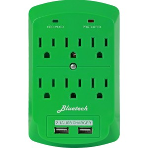 BlueTech Surge Protector, Electronics Charging Station, 6 Outlet 2 USB Port Wall Adapter with Safety Indica