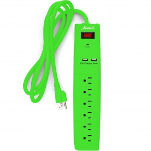 Bluetech 6 Outlet Surge Protector with Dual USB Ports and 6 Ft Cord, Green