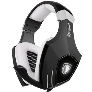 [2016 Newly Updated USB Gaming Headset] SADES A60/OMG Computer Over Ear Stereo Heaphones With Microphone Noise Isolating Volume Control LED Light (Black+White) For PC and MAC
