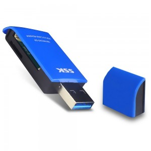 SSK TF Card Reader USB3.0 Memory Card Reader 5Gbps SuperSpeed Transfer SDHC Card Adapter Blue SCRM