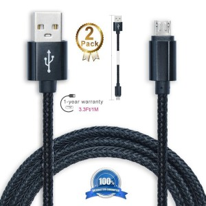Android Charging Cable,Hankuke [2-Pack] Multi length and color Sturdy Nylon Fabric Braided High Speed Data Sync USB to Micro USB Cable (1m black)