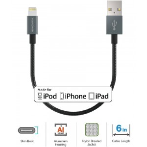 FosPower [Apple MFi Certified] Braided 8 Pin Lightning to USB Cable with Aluminum Connector for iPhone 7, 7 Plus, SE / iPad Pro / Air 2, mini 3 / iPod Touch 5th Gen, iPod Nano 7th Gen and More (6 in)