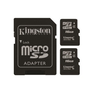 Kingston Digital 16GB Micro SD Flash Card, Pack of 2, One Adapter with Jcase (SDC4/16GB-2P1AET)