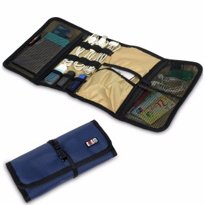 BUBM Durable Waterproof Wrap Electronics Accessories Travel Organizer /USB Hard Drive Bag/Cable Stable/ Baby Healthcare Kit(Large-Navy Blue)