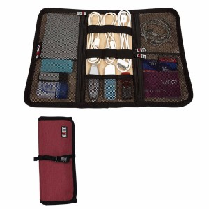BUBM Durable Waterproof Wrap Electronics Accessories Travel Organizer /USB Hard Drive Bag/Cable Stable/ Baby Healthcare Kit(Small-Red)