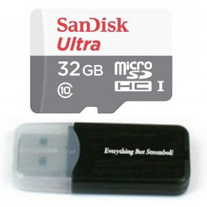 Sandisk Micro SDXC Ultra MicroSD TF Flash Memory Card 32GB 32G Class 10 for Samsung Galaxy J3 A3 A5 A7 On7 On5 A9 View A8 J5 Phone w/ Everything But Stromboli Memory Card Reader