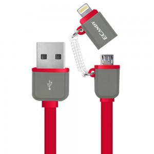 Ecandy 3.3ft MFI Certified Apple Lightning Cable Quick Charge 2-in-1 Mirco USB Charging Cable Connector for Iphone 6s plus 6 ,ipad,Samsung and Android Smart Phones (red)