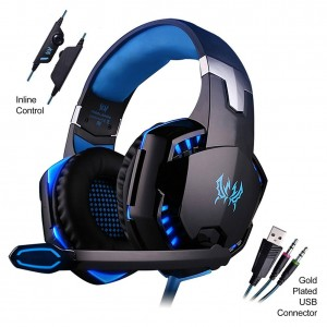 Mictech G2000 Professional 3.5mm PC LED Light Gaming Bass Stereo Noise Isolation Over-ear Headset Headphone Earphones for laptop Computer with MIC (Blue)