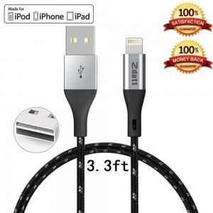 Zdatt 3.3ft/1M Nylon Braided 8 Pin Apple Lightning Cable MFi Certified Reversible USB Charging Sync Cable Cord Charger with Aluminum Connector for iPhone 5s/5/6/6s Plus/SE,iPad Mini/Air/Pro-Black