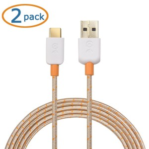 Cable Matters 2-Pack USB Type C (USB-C) to Type A (USB-A) Cable with Braided Jacket in Gold 6.6 Feet