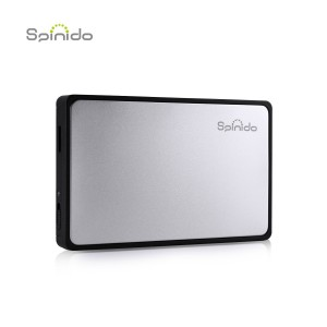 Spinido Hard Disk Enclosure Support UASP SATA III USB 3.0/2.0 Aluminum External Tool-free Box and Mobile Device Optimized For 2.5 Inch SSD and HDD(Silver)