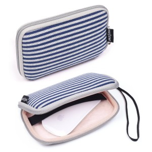 Case Star  Bohemian Style Canvas Fabric Smart Classic Stripe Pattern Travel Carrying Case Bag for Mac Magic Mouse, Anker 36W 4-Port USB Wall Charger Travel Adapter, Apple 45W MagSafe Power Adapter