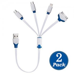Fuji Tech (2pack) USB Cable ,Multiple USB Charging Adapter 4 in 1 with Lighting / 30 Pin / Micro USB / Mini