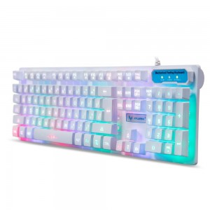 CYLAPEX Double-Shot Molding Mechanical Feel Gaming Keyboard LED Multicolor Backlit Keyboard USB Wired for PC Game and Office Black