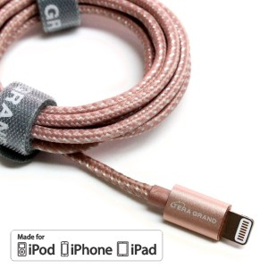 [Apple MFi Certified] Tera Grand Lightning to USB Braided Cable with Aluminum Housing 4 Ft Rose Gold iPhone 7 Plus 7 6 Plus 6 5s 5c 5 iPad Air 1/2 Mini 1/2/3 iPad 4th gen iPod 5th gen iPod nano