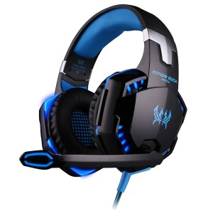 Gaming Headset, Forestfish PC Gaming Headsets Headphone with Built-in Microphone and Volume/ Mute Control 3.5mm Wired Noise Canceling Computer Game Headphone with LED Light, Blue