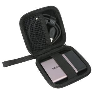 Khanka Protective Zipper Carrying Storage Travel Hard Case Cover Bag for Samsung T1 / T3 Portable 500GB USB 3.0 External SSD - Black