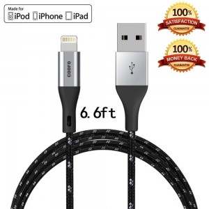 Zdatt Lightning Cable Nylon Braided Apple MFi Certified 6.6 Feet/2M Long Reversible Lightning to USB Sync Charging Cable Cord with Aluminum Connector for iPhone 6S/5S, iPad Air/Mini/Pro, iPod-Black