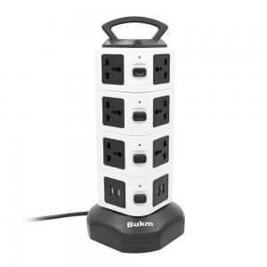 USB Power Strip, Bukm 14-Outlet Surge Protector, 4-Port USB Travel Charger Charging Station with 6.5 Feet Cord Suitable for iPhone, iPad, Samsung Galaxy, Tablets