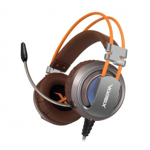 XIBERIA V10U USB Gaming Headset Surround Sound Over-ear Headphones with Microphone Volume Control for PC (Brown)