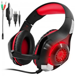 Gaming Headset for PS4 PSP Xbox one PC Tablet iPhone Ipad Samsung Smartphone, SENHAI GM-1 Headphone with Adapter Cable for PC (Black+Red)