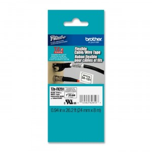 Brother Laminated Flexible ID Black on White 1 Inch Tape - Retail Packaging (TZeFX251) - Retail Packaging
