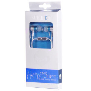 Subjekt HPM-21BL HerPhones Petite Earphones with Microphone Designed for Small Ears - Wired Headsets - Retail Packaging - Blue