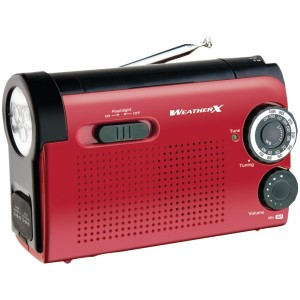 Weatherx Weather X WR182R NOAA Weather Band and AM/FM Radio Flashlight with Dynamo Hand Crank Power (Red/Bl