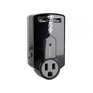 Tripp Lite 3 Outlet Portable Surge Protector, Dual Port USB Charger (2.1A total), Wall Mount Direct Plug-in, and $5K INSURANCE (SK120USB)