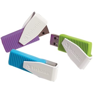 Verbatim 8 GB Store 'n' Go Swivel USB Flash Drive 3-Pack, Blue/Green/Violet 98426