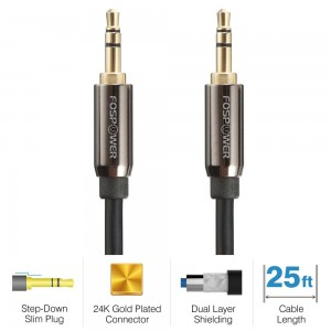 FosPower [25ft] 3.5mm Male to 3.5mm Male [AUX] Stereo Audio Cable - Step Down Design Auxiliary Cable for iPhone, iPod, Android Smartphones, Tablets, MP3 Players and More (25 feet)