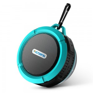 VicTsing Shower Speaker, Wireless Waterproof Speaker with 5W Drive, Suction Cup, Buit-in Mic, Hands-Free Speakerphone-Blue