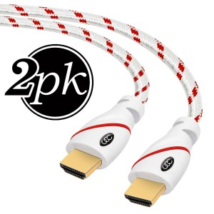 Ultra Clarity Cables HDMI Cables 1.5 FT - 2.0 HDMI Cable 4K Ultra-High Speed ( 2 PACK, 1.5 FEET Each ) Supports Etherne