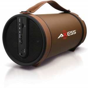 "Axess SPBT1033-BR Portable Bluetooth Indoor/Outdoor 2.1 Hi-Fi Cylinder Loud Speaker with SD Card, AUX and FM Inputs, 4"" Sub In Brown Color"