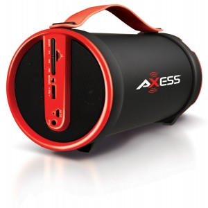 """Axess SPBT1033-RD Portable Bluetooth Indoor/Outdoor 2.1 Hi-Fi Cylinder Loud Speaker with SD Card, AUX and FM Inputs, 4"""" Sub In Red Color"""