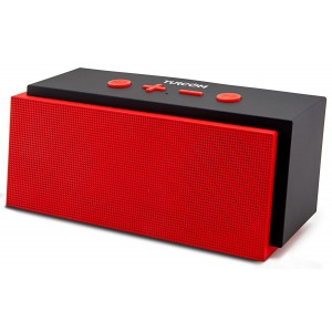 Turcom TS-453 10 Watt Bluetooth Speaker Portable Wireless Mobile 2.0 Stereo Speaker, Durable Outdoor Casing, Dual 5W Drivers, Enhanced Bass Boost, Built in Mic, 3.5mm AUX Port, Rechargeable Battery, 12-Hour Playtime, Red and Black