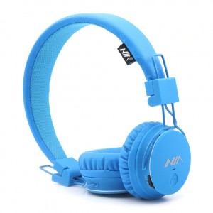 GranVela X2 Foldable On-Ear Wireless Headphones Support Bluetooth Micro SD Card Player, FM Radio with Built-in Microphone Calls for Kids Earphones, gift, Smartphones (Blue)