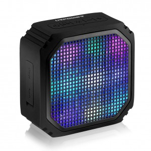 URPOWER Z2 Wireless Stereo Speaker with 7 LED Visual Modes and Built-in Microphone, Black