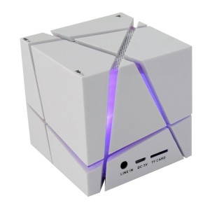 Bluetooth Speaker, Hi-tec Led Light Cube Portable Bluetooth Speaker with Fm Radio 30, Build-in Microphone, Work for Iphone Ipad, Ipod Samsung Tablet Laptop Mp3 Cd Player (White)