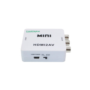 Cooldigital 1080P HDMI to AV 3RCA CVBS Composite Video Audio Converter Adapter Supporting PAL/NTSC with USB Charge Cable for PC Laptop Xbox PS4 PS3 TV STB VHS VCR Camera DVD white