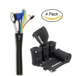 HomeyHomes 20-Inch Cable Management Sleeve with Zipper and Connector Buckles (4 Pack)