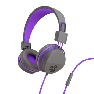 JLab Audio Neon Headphones On-Ear Feather Light, Ultra-plush Eco Leather, 40mm drivers, GUARANTEED FOR LIFE - Graphite/Violet